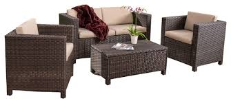 Venice  Piece Outdoor Wicker Sofa Set With Cushions Tropical - Wicker sofa sets