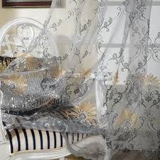 Embroidered Sheer Curtains Grey Embroidery Crafts Design Sheer Curtains