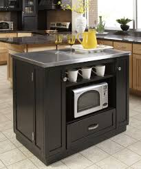 Kitchen Cabinet On Wheels Black Kitchen Island With Stainless Steel Top Outofhome