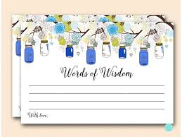 Words Of Wisdom Bridal Shower Game Navy Blue Mason Jars Bridal Shower Games Magical Printable