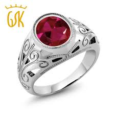 ruby red rings images Gemstoneking vintage 925 sterling silver men 39 s ring 6 40 ct oval jpg