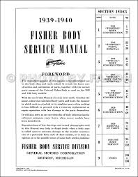 1939 1940 buick body repair shop manual reprint