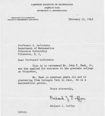 re application letter as a teacher john nash letter of recommendation