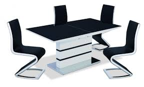 ALDRIDGE BLACKWHITE HIGH GLOSS DINING TABLE WITH  CHAIRS - Black dining table for 4
