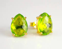 peridot stud earrings peridot stud earring etsy