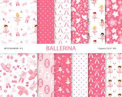 ballerina wrapping paper ballerina digital paper pack in pink ballet ballerina danse