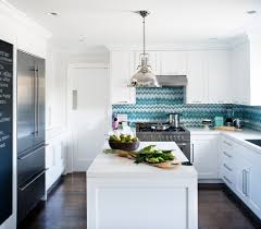 dark oak floors kitchen contemporary with blue chevron backsplash