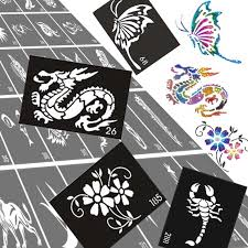 50pcs lot glitter tattoo stencil drawing for painting airbrush
