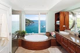 modish beach cottage bathroom design ideas using white window trim