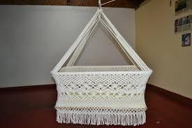 organic baby crib cradle hanging bassinet with macrame fringe