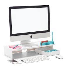 poppin white monitor riser modern desk accessories cool office
