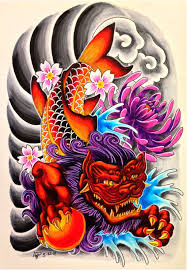 foo dog koi fish by blvqwulph on deviantart