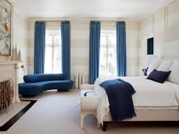 bedroom spacious area using blue window treatment ideas for