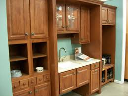 Show Cabinets Straight Teak Wood Kitchen Cabinets With Glass Door On Blue Wall