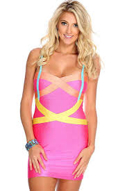 buy online womens clothing bodycon dresses pink yellow color block