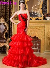 Gothic Wedding Dresses Aliexpress Com Buy Red Black Mermaid Gothic Wedding Dresses With