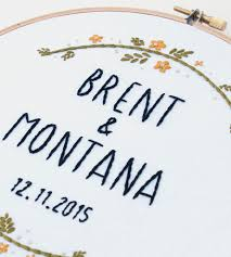 Kitschy Home Decor by Custom Wedding Name U0026 Date Embroidered Hoop Art Home Decor