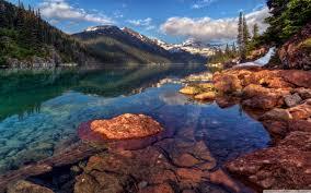 mountain lake with clear water hd desktop wallpaper high