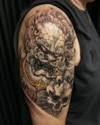 foo dog foo dog and skull 1 2 sleeve tattoo s foo dog