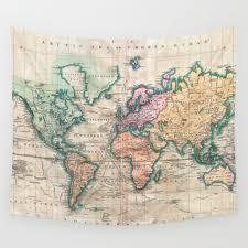 Map Tapestry Black White Pattern And Vector Wall Tapestries Society6