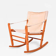 Rocking Chair George Jones Mid Century Modern Safari Chair Rocker Solid Maple Canvas Gold