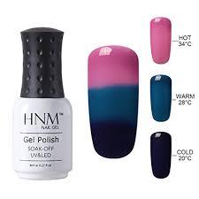 hnm thermal temperature color changing gel nail polish soak off uv