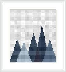 Mid Century Patterns by Forest Cross Stitch Pattern Geometric Mountains Geometric