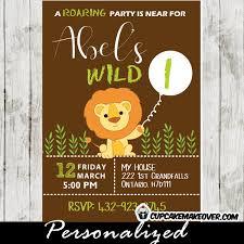 safari lion birthday party invitation personalized cupcakemakeover