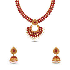 women necklace set images Traditional ruby red kundan necklace set mknks156 maalyaa jpg