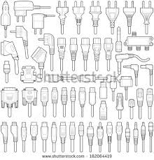 cable wire electric plug collection vector stock vector 182064425