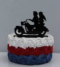 motorcycle biker wedding cake topper motorcyclist riding in the