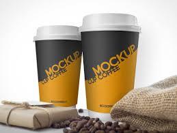 Coffee Cups Coffee Cups U0026 Burlap Beans Sack Psd Mockup Psd Mockups