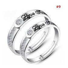 couple promise rings images 1 pair 925 silver plated heart lovers couple promise rings set jpg