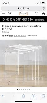 cb2 acrylic nesting tables cb2 3 piece peek a boo acrylic nesting tables furniture in queens ny