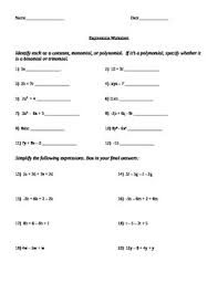 this worksheet covers identifying simple algebraic expressions as