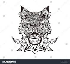 patterned head wolf coyote dog monochrome stock vector 412553089