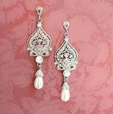gunmetal chandelier earrings 1920s earrings bridal pearl earrings pearl chandelier earrings