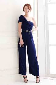 jumpsuits for evening wear blue ruched one shoulder fashion jumpsuit rompers and