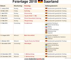 Kalender 2018 Mit Feiertagen Saarland Feiertage Saarland 2017 2018 2019 Mit Druckvorlagen
