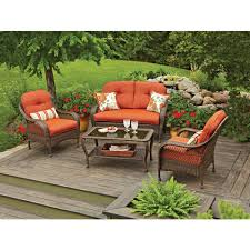Patio Chairs With Cushions Palermo Outdoor Brown Wicker 3 Piece Chat Set With Cushions