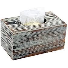 decorative tissue box decorative rustic torched wood rectangular