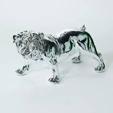 large electro plated bulldog statue ornament this stunning