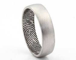 fingerprint wedding bands fingerprint ring etsy