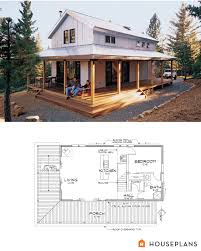 modern farmhouse cabin floor plan and elevation 1015sft home