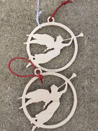 scroll sawn set of 2 wooden angels christmas tree ornaments by