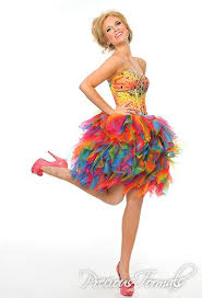 fun short rainbow prom dress 2014 with crystal embellished corset
