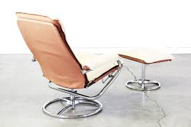 Reclining Lounge Chair Vintage Leather U0026 Chrome Reclining Lounge Chair W Ottoman