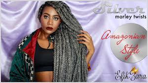 grey marley braiding hair silver gray marley twists on zara done by dmv cover curls youtube