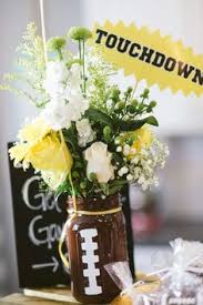 edison football banquet mason jar football with turf centerpieces