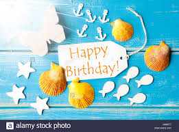 summer greeting card with text happy birthday stock photo